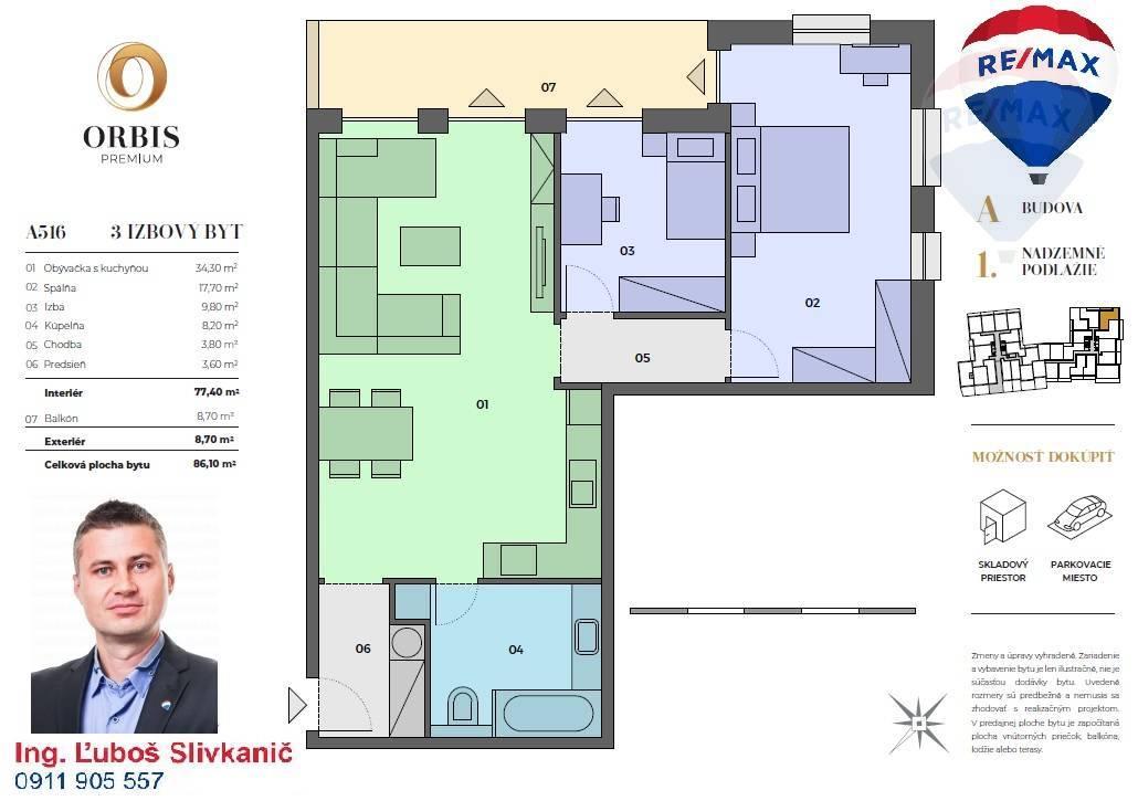 Predaj 3-izbový byt s balkónom v centre mesta Nitra v ORBIS Premium.