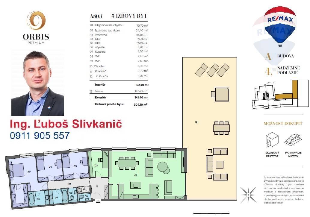 Predaj bytu (5 izbový a väčší) 365 m2, Nitra - predaj 5 izbový byt ORBIS Premium Nitra A803