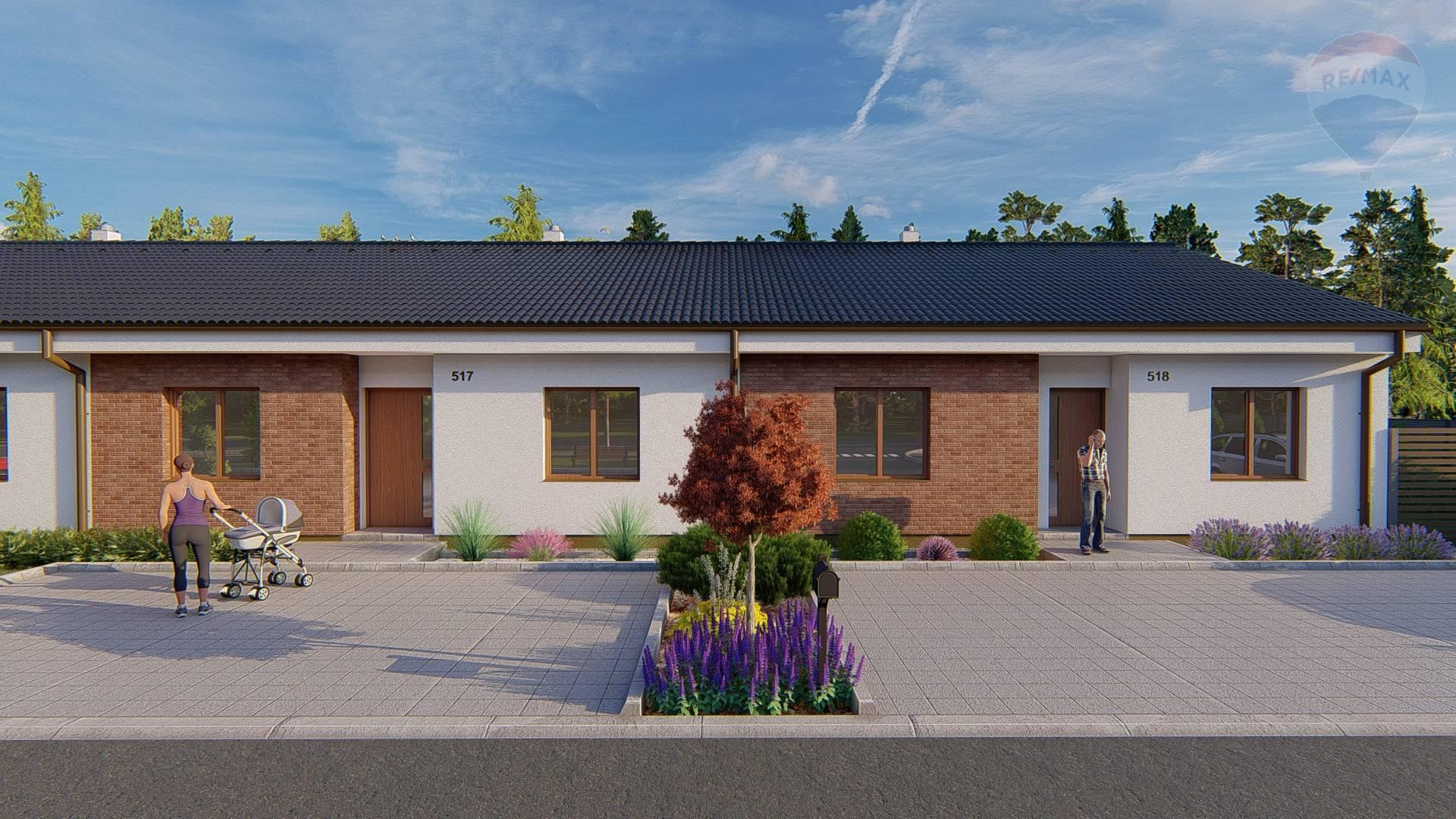 Predaj 4 izbového rodinného domu v dvojdome, Horný Bar, novostavba, 4 izby, 91 m2 ÚP