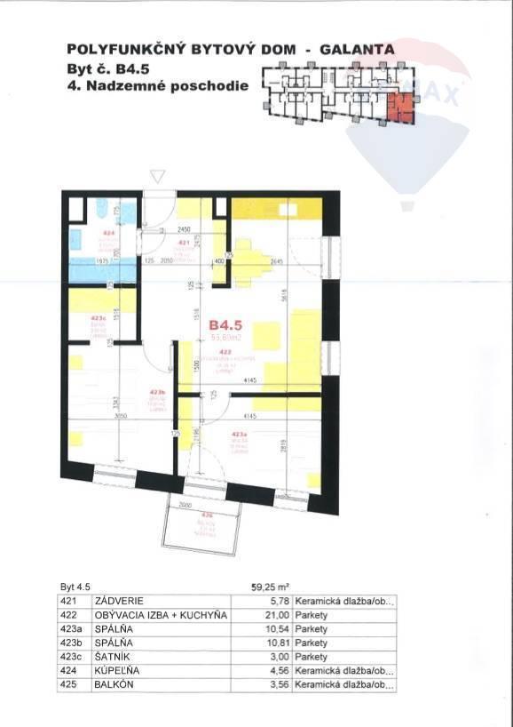 Predaj bytu (3 izbový) 56 m2, Galanta -
