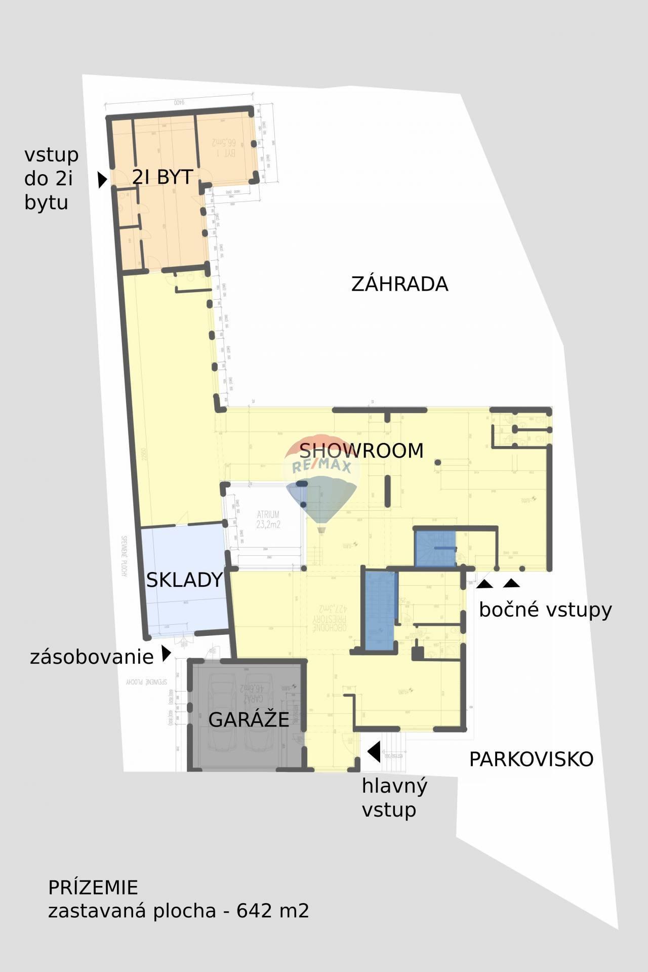 Predaj komerčného objektu 642 m2, Bratislava - Podunajské Biskupice - situácia a pôdorys prízemia